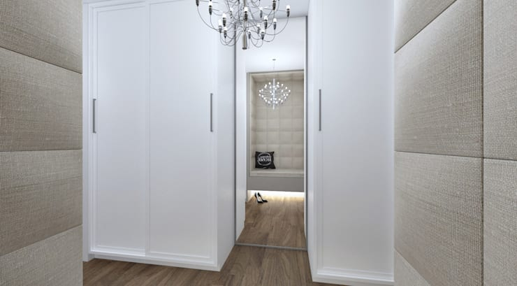 Walk in closet view 2:   by Linken Designs