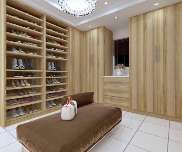 Walk in closet view 2:   by Linken Designs