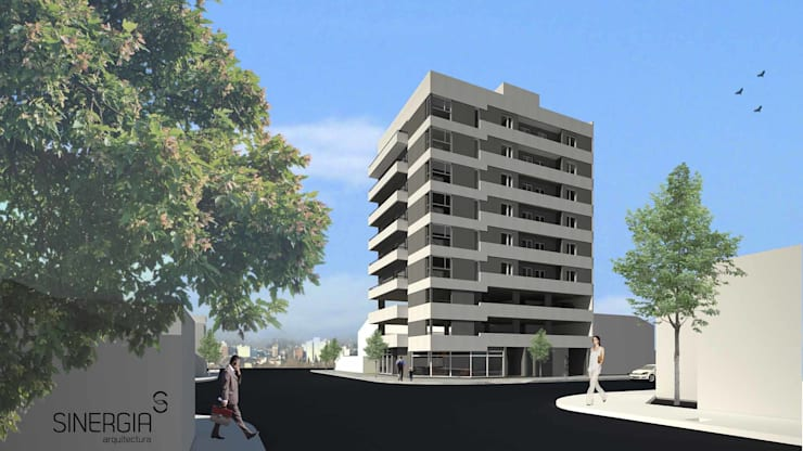 Edificio Neuquen Capital : Condominios de estilo  por SINERGIA ARQUITECTURA,