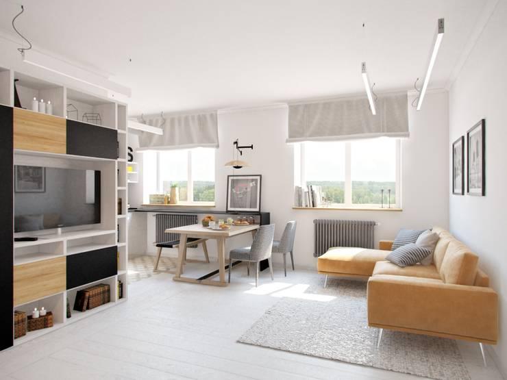 Дизайн двухкомнатной квартиры в скандинавском стиле: Гостиная в . Автор – ЕвроДом