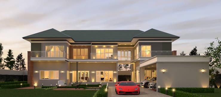 บ้านหรู จังหวัดฉะเชิงเทรา:  บ้านและที่อยู่อาศัย by บริษัท พี นัมเบอร์วัน ดีไซน์ แอนด์ คอนสตรัคชั่น จำกัด