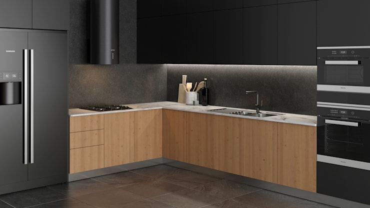 Dündar Design - Mimari Görselleştirme – Siyah Mutfak:  tarz Mutfak