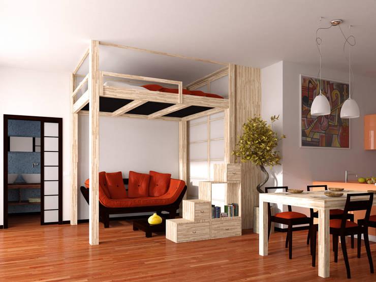 """Letto a Soppalco """"Rising"""": Camera da letto in stile  di cinius s.r.l."""