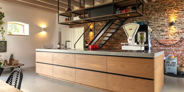 Kookeiland:  Keukenblokken door De Nieuwe Context, Industrieel IJzer / Staal