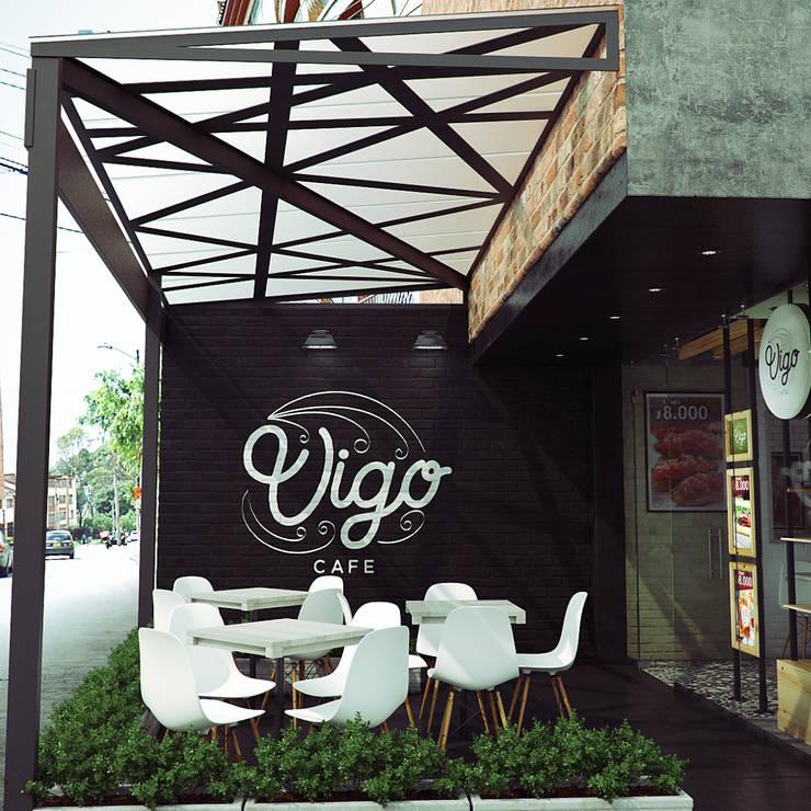Vígo - Entrada: Locales gastronómicos de estilo  por Roque_industrial_design, Moderno Ladrillos