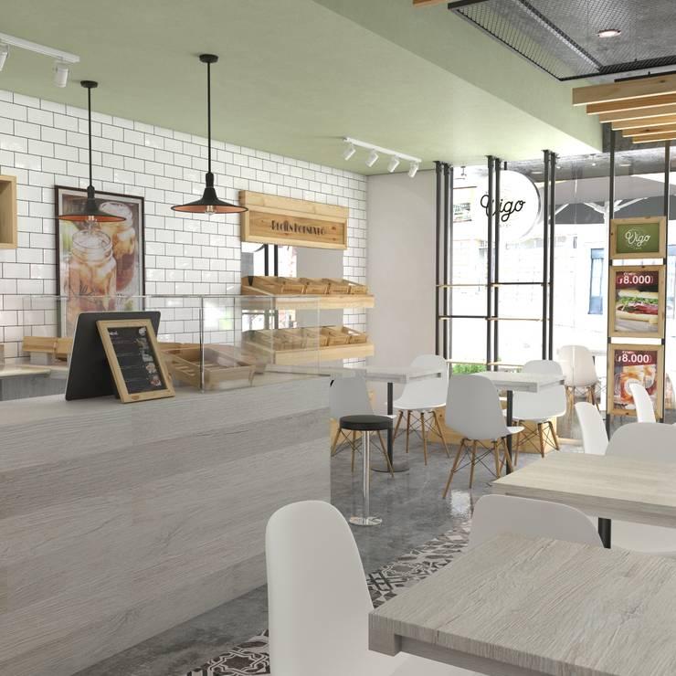 Vígo Café - Interior: Locales gastronómicos de estilo  por Roque_industrial_design, Moderno Madera Acabado en madera