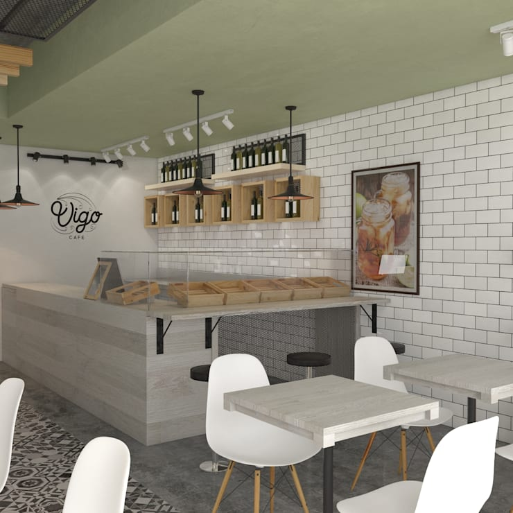Vígo Café - Interior: Locales gastronómicos de estilo  por Roque_industrial_design, Moderno Cerámico
