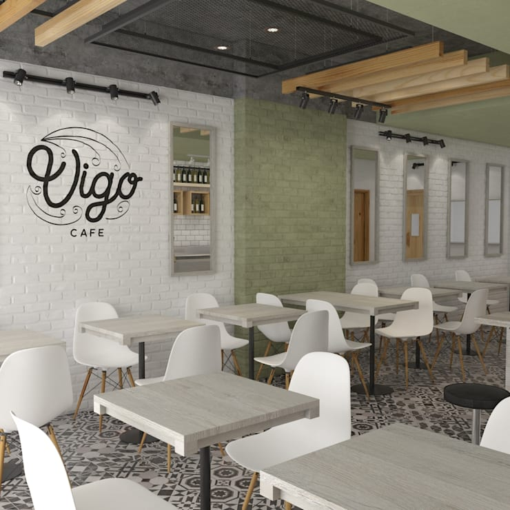 Vígo  Café - Interior: Locales gastronómicos de estilo  por Roque_industrial_design, Moderno Ladrillos