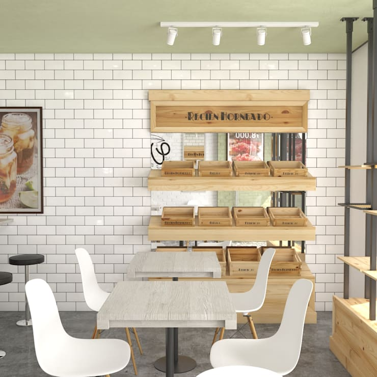 Vigo Café: Locales gastronómicos de estilo  por Roque_industrial_design, Moderno Cerámico