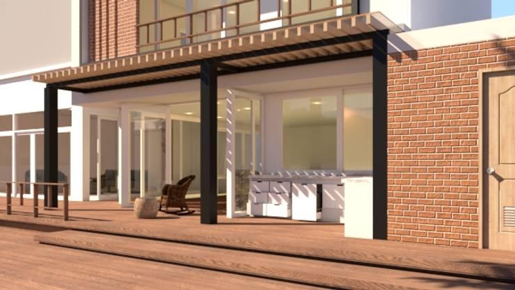 บ้านจำลอง 3D ตกแต่งบ้านหรู:  ระเบียง, นอกชาน by บริษัท พี นัมเบอร์วัน ดีไซน์ แอนด์ คอนสตรัคชั่น จำกัด