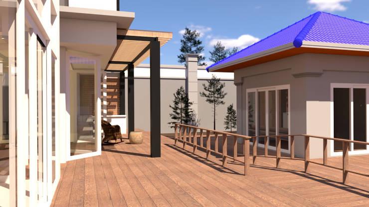 บ้านจำลอง 3D ตกแต่งบ้านหรู:  ระเบียง, นอกชาน by บริษัท พี นัมเบอร์วัน คอนสตรัคชั่น จำกัด