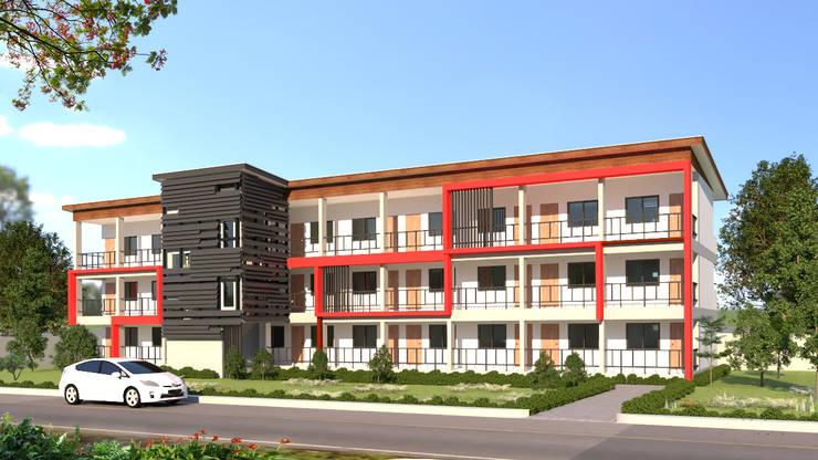 อพาร์ทเม้นท์จำลอง 3D บางบ่อ จังหวัดสมุทรปราการ:  บ้านและที่อยู่อาศัย by บริษัท พี นัมเบอร์วัน คอนสตรัคชั่น จำกัด