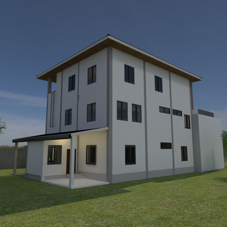บ้านจำลอง 3D 3 ชั้น:  บ้านและที่อยู่อาศัย by บริษัท พี นัมเบอร์วัน ดีไซน์ แอนด์ คอนสตรัคชั่น จำกัด