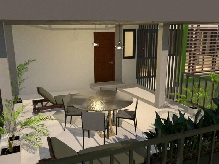 บ้านจำลอง 3D 3 ชั้น:  ระเบียง, นอกชาน by บริษัท พี นัมเบอร์วัน ดีไซน์ แอนด์ คอนสตรัคชั่น จำกัด