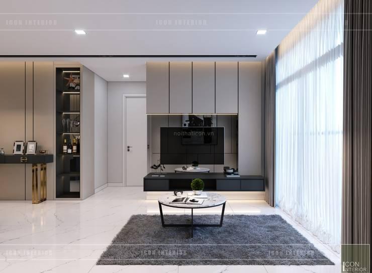 Thiết kế nội thất chung cư 2 phòng ngủ hiện đại:  Phòng khách by ICON INTERIOR