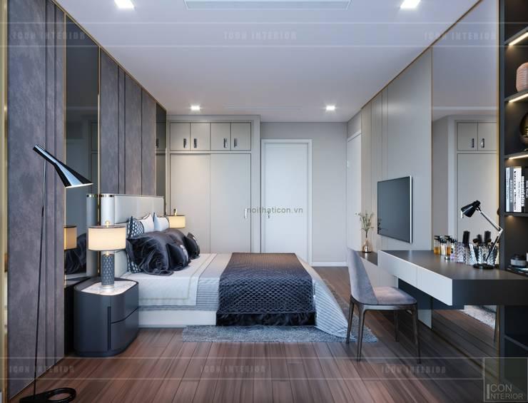 Thiết kế nội thất chung cư 2 phòng ngủ hiện đại:  Phòng ngủ by ICON INTERIOR
