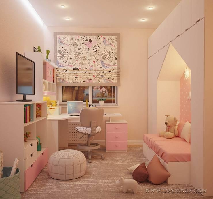 Детская комната в розовых тонах: Детские комнаты в . Автор – студия Design3F, Эклектичный