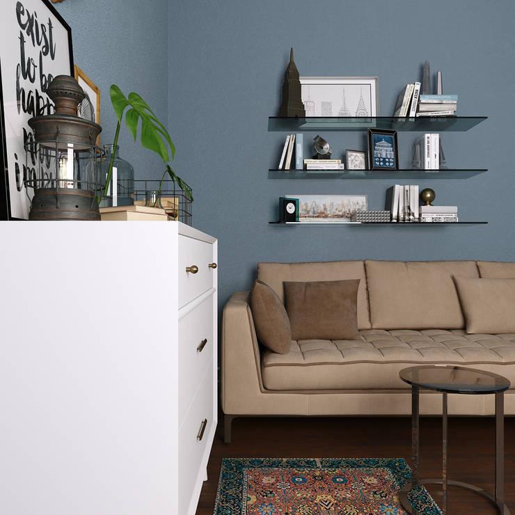 غرفه معيشة:  غرفة المعيشة تنفيذ EL Mazen For Finishes and Trims, بحر أبيض متوسط خشب معالج Transparent