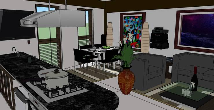 VIVIENDA MULTIFAMILIAR – BARRANCO – LIMA – PERÚ.: Salas / recibidores de estilo  por juan carlos milla miranda, Moderno Compuestos de madera y plástico