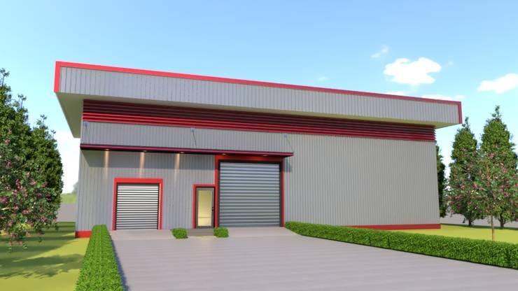 อาคารโกดังจำลอง 3D :  บ้านและที่อยู่อาศัย by บริษัท พี นัมเบอร์วัน ดีไซน์ แอนด์ คอนสตรัคชั่น จำกัด