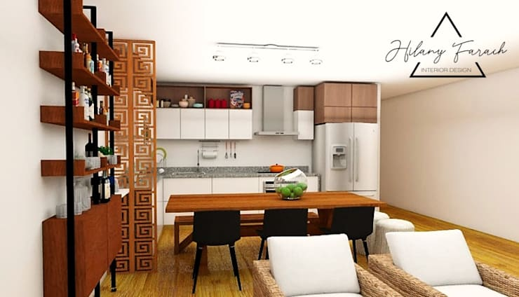 Cocina - Comedor + Sala de playa: Muebles de cocinas de estilo  por Farach Interior Design