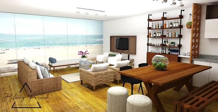Cocina - Comedor + Sala de playa: Salas / recibidores de estilo  por Farach Interior Design