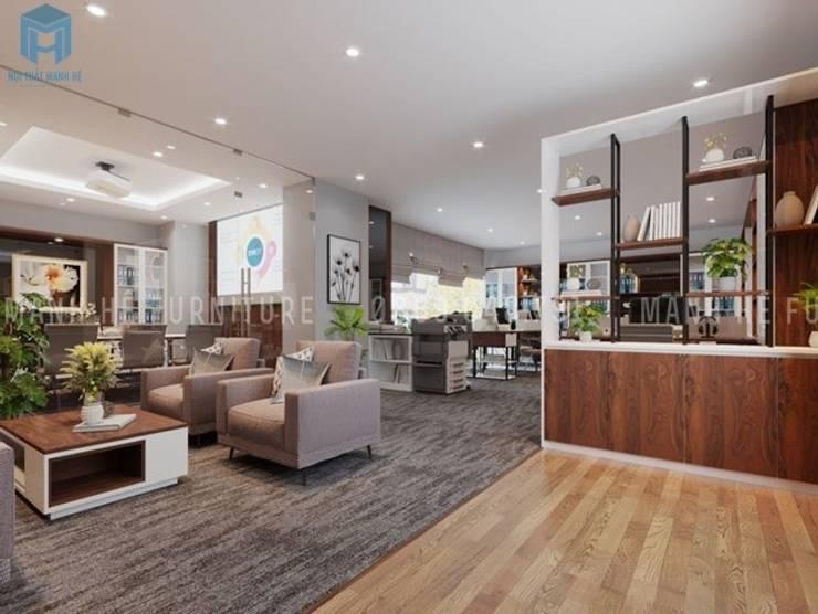 Không gian tiếp khách của văn phòng khá lịch sự khi được bố trí bộ ghế sofa nệm :  Phòng học/Văn phòng by Công ty TNHH Nội Thất Mạnh Hệ