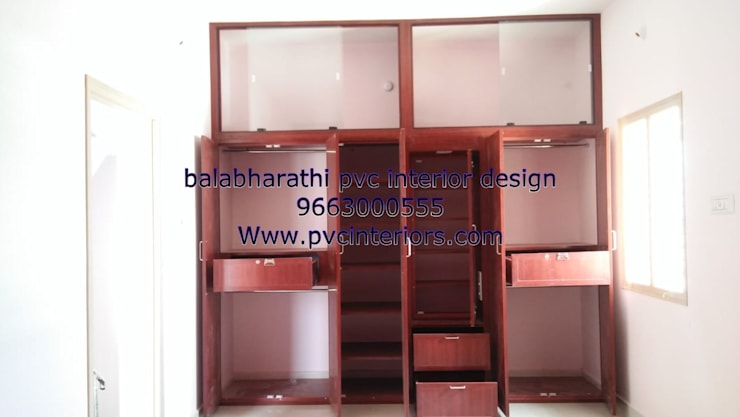 pvc wardrobe in trichy 9663000555:  Bedroom by balabharathi pvc interior design