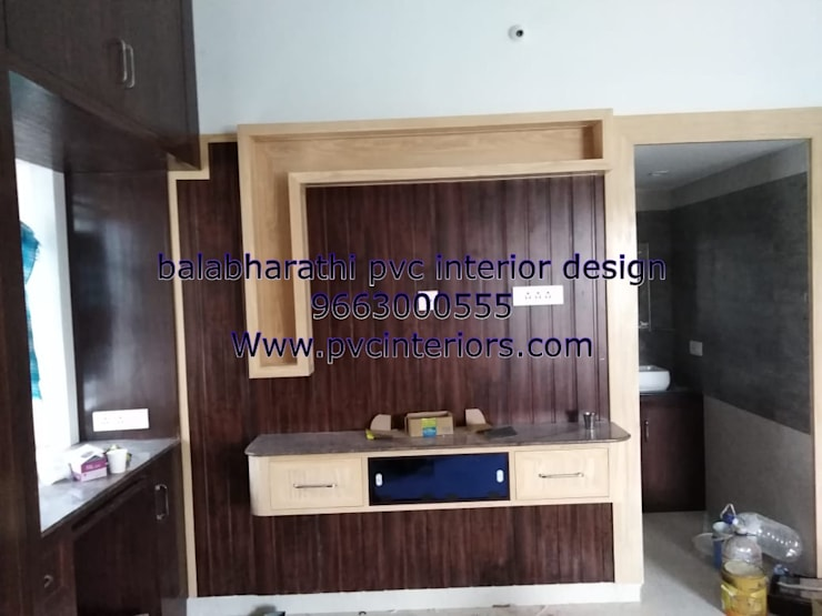 bedroom tv showcase in trichy 9663000555:  Bedroom by balabharathi pvc interior design