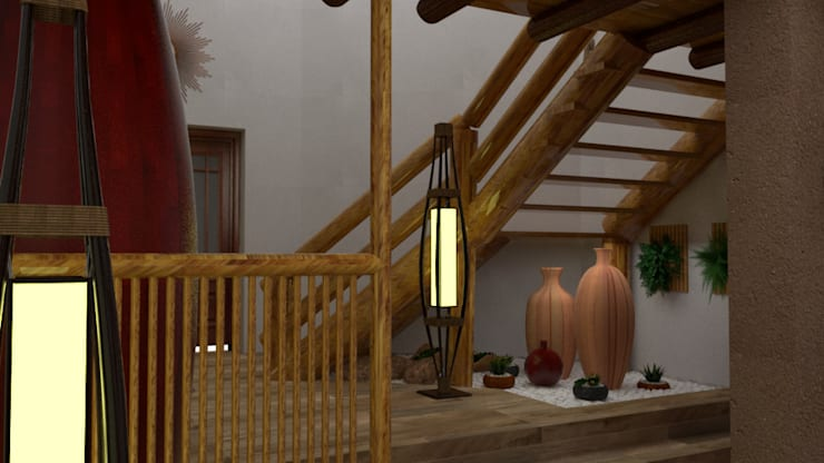 Ingreso y Sala de Espera: Escaleras de estilo  por DIS.OLIVER QUIJANO,