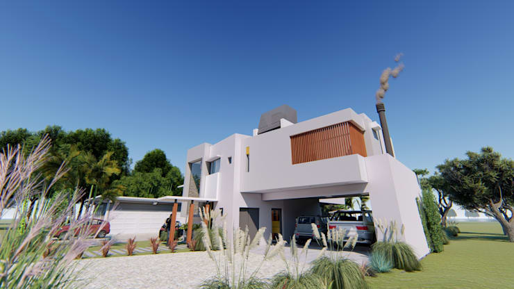 Fachada 1: Casas de estilo  por Módulo 3 arquitectura,