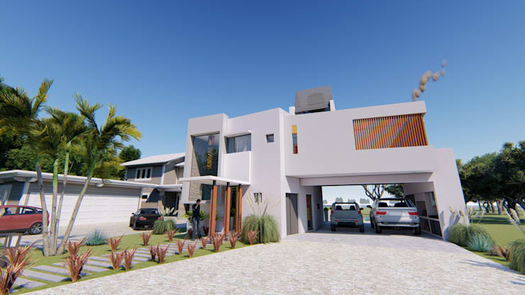 Fachada 2: Casas de estilo  por Módulo 3 arquitectura,