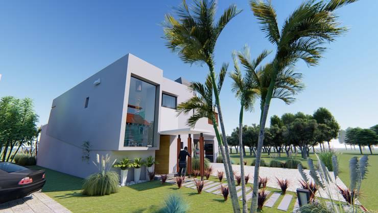 Fachada 4: Casas de estilo  por Módulo 3 arquitectura,
