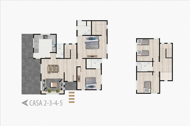 Planta casa 2 pisos:  de estilo  por R-Innovare / Diseño de interiores y Arquitectura / Santiago y Viña del mar