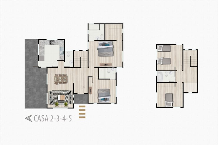 Planta casa 2 pisos:  de estilo  por R-Innovare