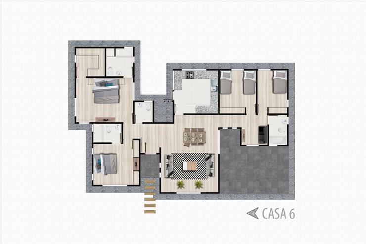 Planta casa tipo 6:  de estilo  por R-Innovare / Diseño de interiores y Arquitectura / Santiago y Viña del mar