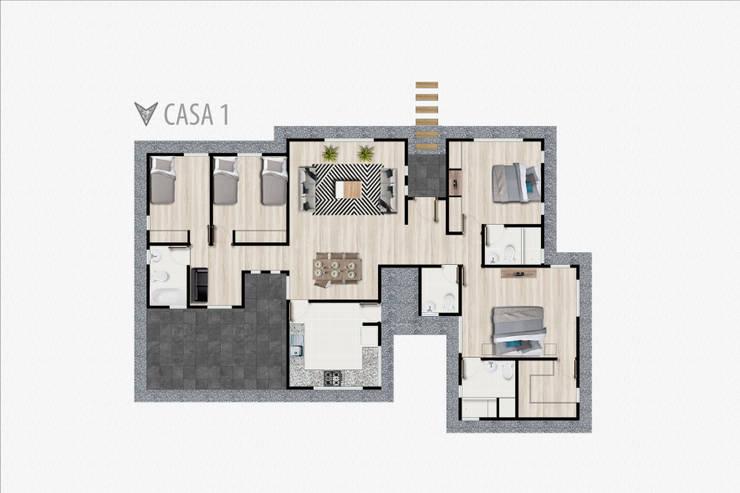 Planta casa tipo 1:  de estilo  por R-Innovare / Diseño de interiores y Arquitectura / Santiago y Viña del mar