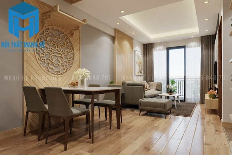 Không gian phòng khách được thiết kế nối liền với phòng bếp khá tiết kiệm diện tích:  Phòng khách by Công ty TNHH Nội Thất Mạnh Hệ