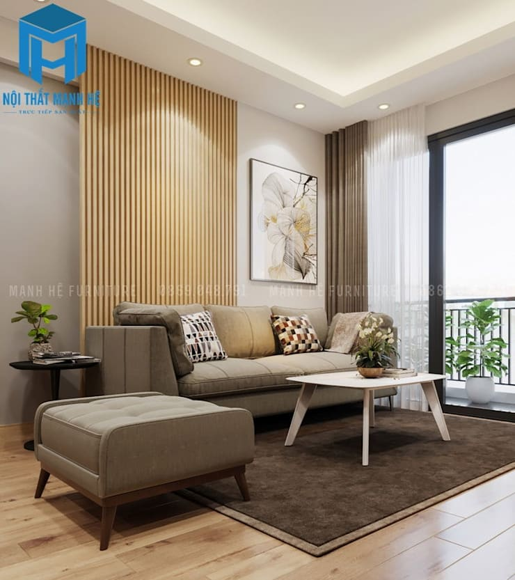 Bàn trà màu trắng 4 chân tuy đơn giản nhưng lại được xem là điểm nhấn cho không gian nhỏ này:  Phòng khách by Công ty TNHH Nội Thất Mạnh Hệ