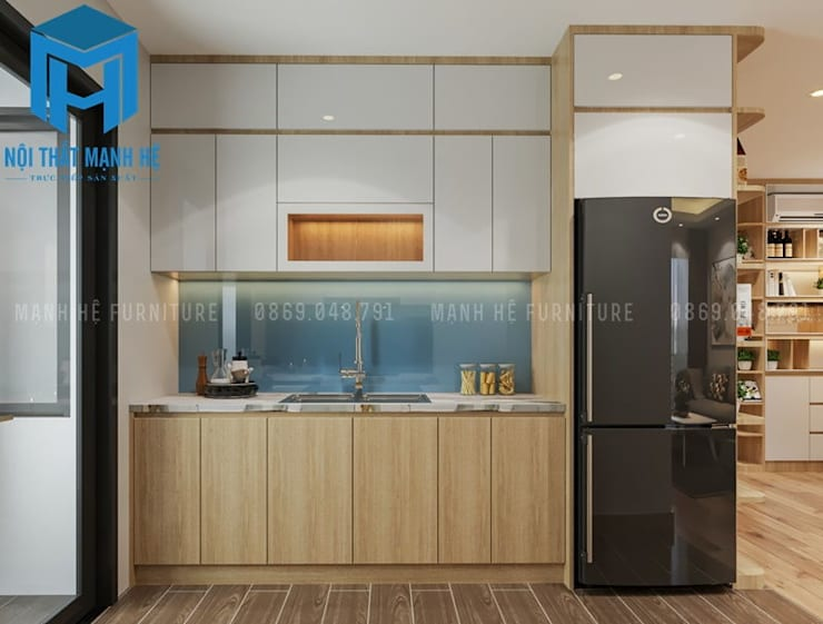 Nội thất phòng bếp tuy đơn giản nhưng lại được trang bị đầy đủ các trang thiết bị cần thiết:  Nhà bếp by Công ty TNHH Nội Thất Mạnh Hệ