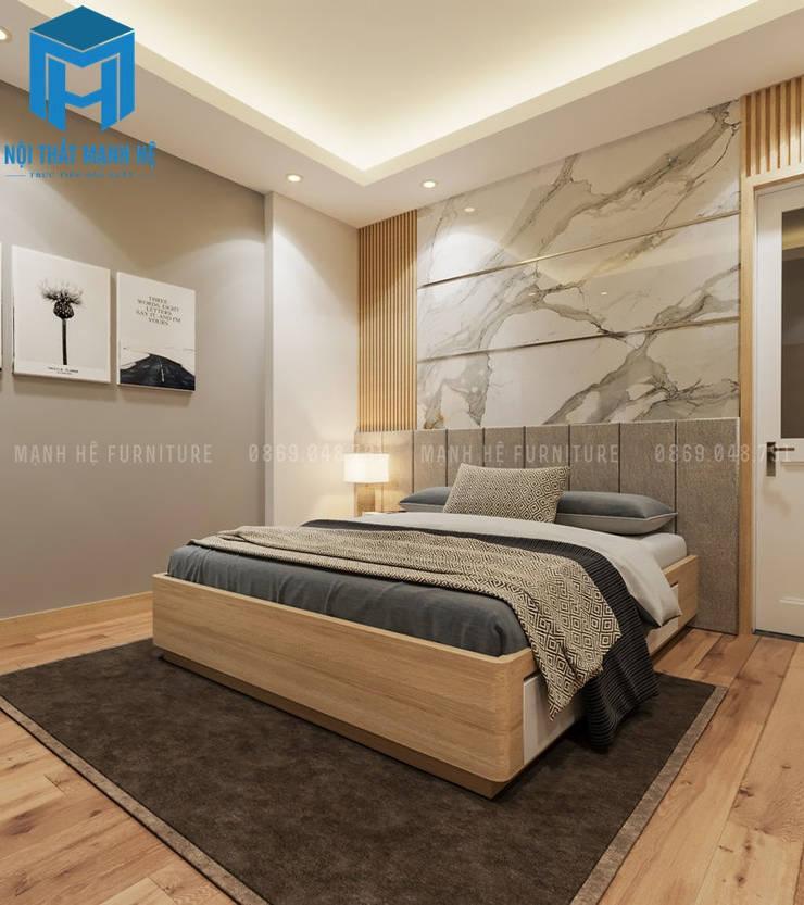 Phòng ngủ Master với gam màu chủ đạo là xám - trắng:  Phòng ngủ by Công ty TNHH Nội Thất Mạnh Hệ