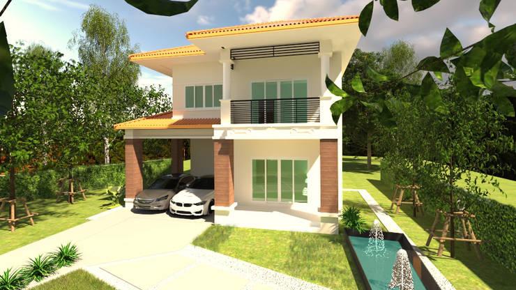 บ้านจำลอง 3D:  บ้านและที่อยู่อาศัย by บริษัท พี นัมเบอร์วัน ดีไซน์ แอนด์ คอนสตรัคชั่น จำกัด