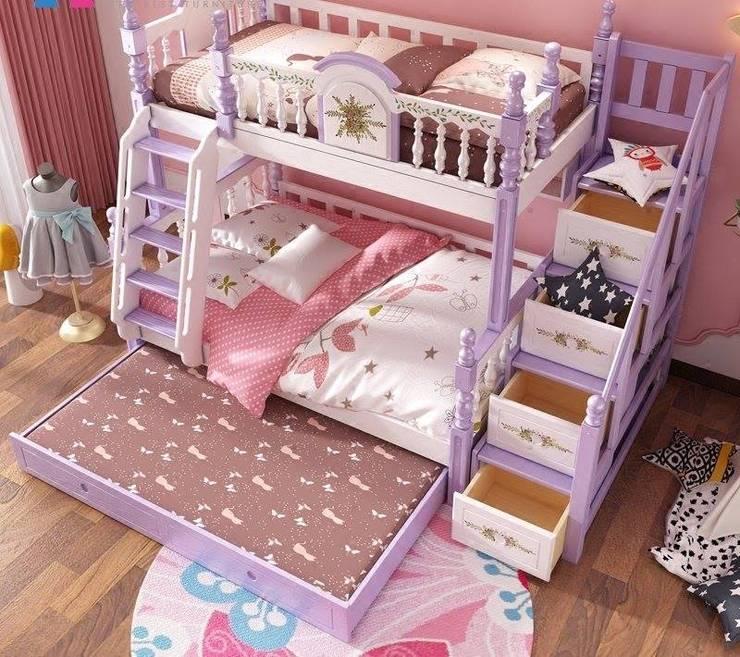 Giường tầng màu tím dành cho bé gái GTE053Giường tầng màu tím dành cho bé gái GTE053:   by Xưởng nội thất Thanh Hải
