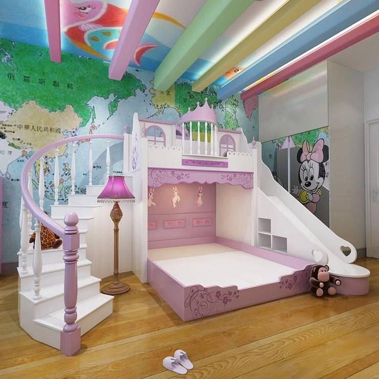 Giường lâu đài công chúa dành cho bé gái GTE056:   by Xưởng nội thất Thanh Hải