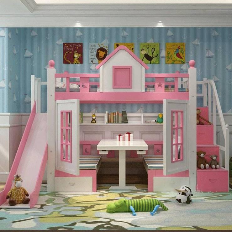Giường tầng hình ngôi nhà có bàn học gấp GTE033 màu hồng:   by Xưởng nội thất Thanh Hải
