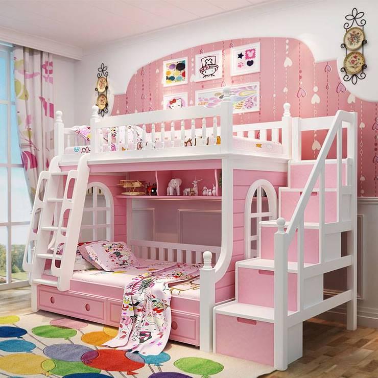 Giường tầng công chúa màu hồng nhạt GTE046:   by Xưởng nội thất Thanh Hải