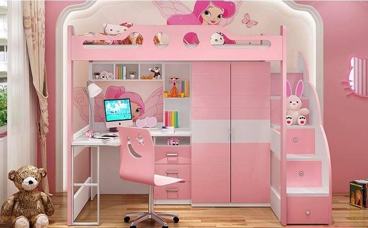 Giường tầng có bàn học + tủ quần áo GTE054:   by Xưởng nội thất Thanh Hải