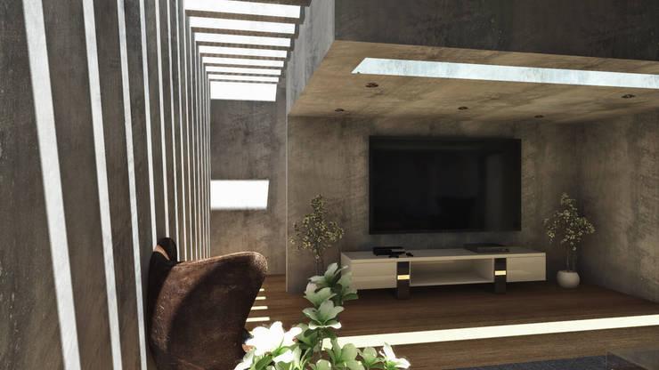 CASA ARICA – CHILE: Salas / recibidores de estilo  por TECTONICA STUDIO SAC, Moderno