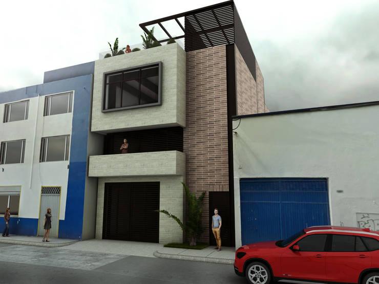 Render fachada principal: Espacios comerciales de estilo  por Gliptica Design, Moderno Concreto