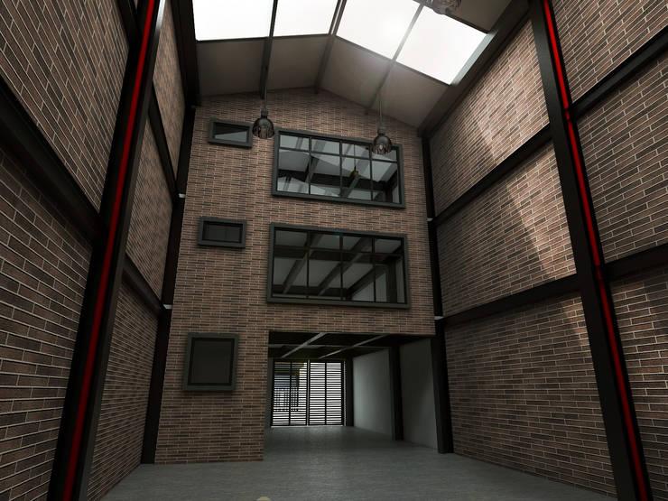 Render vista interior: Espacios comerciales de estilo  por Gliptica Design, Moderno Ladrillos